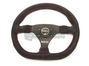 Sparco L360 Steering Wheel 330mm Black Suede With Flat Dish And Flat Bottom New