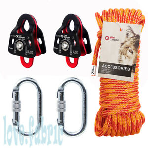 40kn Micro Double Pulley Block And Tackle Rescue Kit Double Braid Rigging Rope