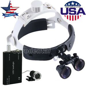 Usps Dental Headband Surgical Medical 3 5x r Binocular Loupes Wth Led Head Light