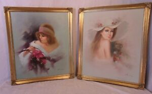 Pair Of Vintage Gold Gilt Frames With Paintings 21 1 2 X26 1 2 Canvas 20x24