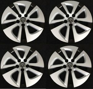 15 Silver Black Hubcap Wheelcover Set Am Fits 2016 2017 Toyota Prius