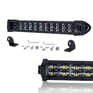 14 Super Slim Spot Flood Combo Single Row Led Work Light Bar 6000k Off Road Bwm