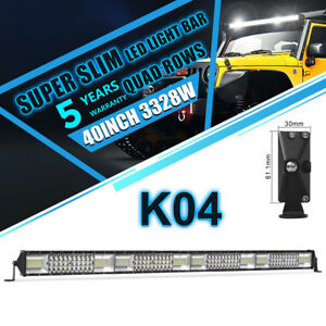 40inch 3328w Quad Row Cree Combo Led Work Light Bar Offroad Driving Truck Lamp