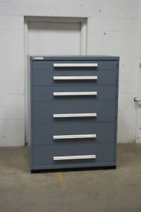 Used Vidmar Six Drawer Cabinet Industrial Tool Storage 45 Wide 1282