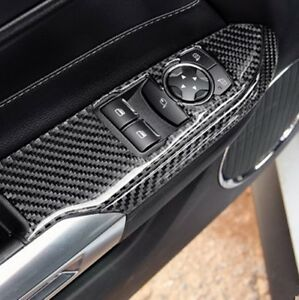 Carbon Fiber Interior Door Armrest Panel Cover Trim For Ford Mustang 2015 2018