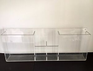 Vtg Lucite Acrylic Clear Mid Century Modern Wall Shelf Media Organizer Storage