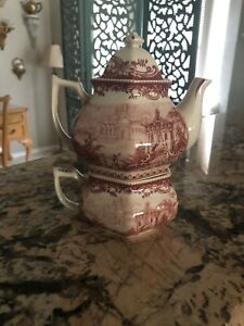 Antique Tea Set For One Red White Collectible Porcelain