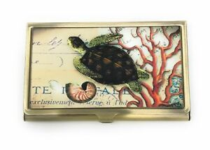 Professional Business Card Case Nautical Sea Turtle Bronze Color Metal