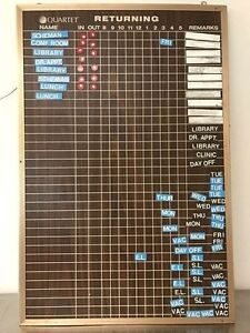 Vintage 36 X 24 Quartet Employee In Out Returning Magnetic Board Office