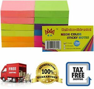 Sticky Notes Neon Assorted Color Memo Reminder 100 Sheets Pad Office Supplies