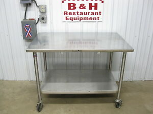 John Boos 48 X 30 Stainless Heavy Duty Work Table W Under Shelf Casters 4