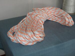Double Braid Polyester 5 8x150 Feet Arborist Rigging Tree Bull Rope White Orange