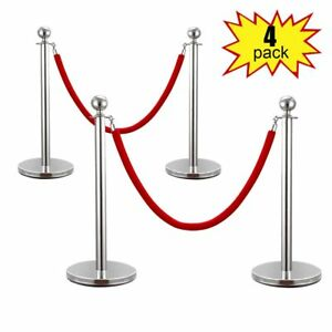 Silver gold Stainless Steel Stanchion Posts W red Velvet Rope