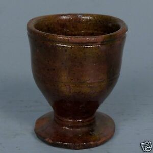 Rare Antique Redware Pottery Egg Cup Or Holder From A Pennsylvania Estate Pt