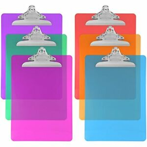 Trade Quest Plastic Clipboard Transparent Color Letter Size Standard pack Of 6