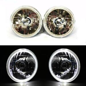 97 16 Jeep Wrangler Jk Tj Lj Cj 7 White Led Halo Round Chrome Clear Headlights