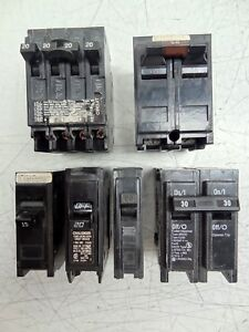 Lot Of 6 Assorted Circuit Breakers Square D Challenger Murray Cutler Hammer