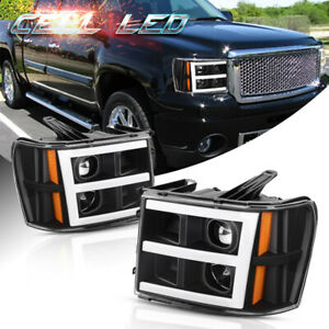 Black For 2007 2013 Gmc Sierra 1500 25003500hd Led Drl Tube Projector Headlight Fits More Than One Vehicle