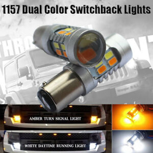2x 1157 Dual Color Switchback 5630 6000k White Amber Led Turn Signal Light Bulbs