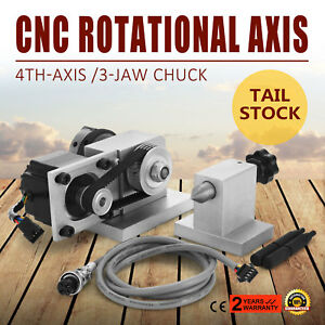 Cnc Router Rotational Rotary Axis A axis 4th axis 3 Chuck Engraving Machine