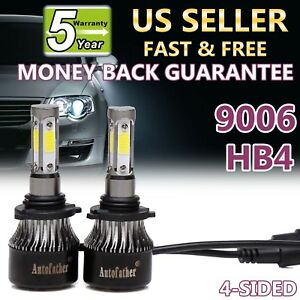 9006 Hb4 9012 1020w 153000lm Cob Led Headlight 4 Sided Kit Bulbs 6000k Vs Hid