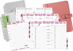 Leather Pink Ribbon Undated Starter Set Desk Size Planner Sets