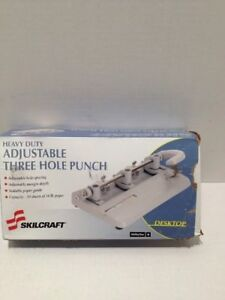 Skilcraft Adjustable 3 hole Punch Heavy duty 9 32 Hole Black 4316240