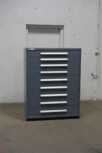 Used Vidmar 9 Drawer Cabinet Industrial Cnc Tool Storage 45 Wide 1300