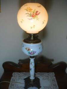 Antique 1893 Three Tiered Hand Painted Banquet Lamp 33 Tall Electrified