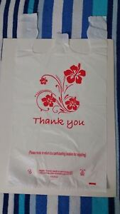 Large White Color Thank You Plastic Bag For Grocery Liquor Stores 12 x23