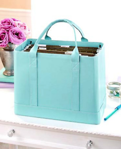 Chic File Organizer Tote Portable Document Folder Carrier Faux Leather