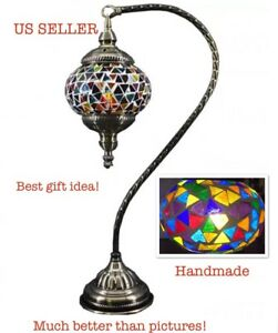 Handmade Stained Glass Mosaic Bead Electric Table Lamp Light Turkish Moroccan