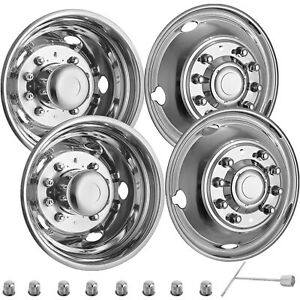For Ford F450 F550 19 5 05 19 10 Lug Stainless Dually Wheel Simulators Bolt On
