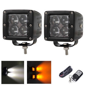 2x 3 White Amber Dual Colors Strobe 4d Led Work Light Bar Remote Wiring Kits