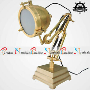 Industrial Brass Table Lamp Vintage Antique Nautical Desk Lamp Task Light Decor