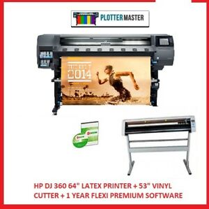 Hp Dj 360 64 Latex Printer 53 Vinyl Cutter 1 Year Flexi Premium Software