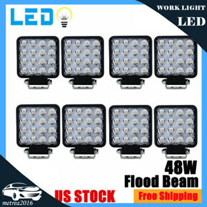 8x 4inch 48w Square Cree Led Work Lights Offroad Truck Tractor Suv Driving Lamps