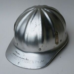 Vintage Superlite Aluminum Hard Hat Fibre Metal Stamped U s Government