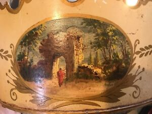 Vintage French Tole Toleware Hand Painted Jardiniere Cache Pot Made In France