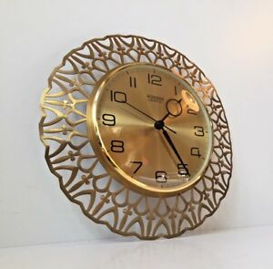 Vtg 1970s Mid Century Brass Wall Clock German Blessing Georg Nelson Eames Era