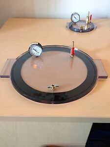 Vacuum Chamber Lid 9 Diameter Polycarbonate Complete And Ready Degassing