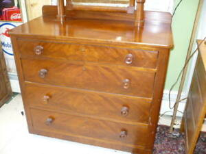 Antique Maple Dresser With Mirror