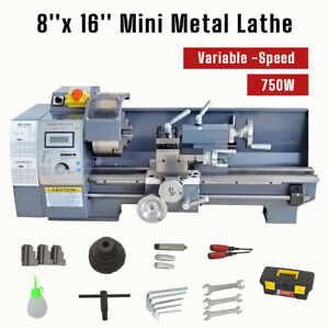 110v 8 X 16 750w Variable speed Mini Metal Lathe Bench Top Digital Top Quality