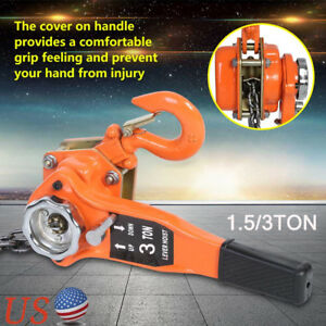 1 5 3 Ton Lever Block Chain Hoist Ratchet Type Comealong Puller Lifter Orange Us