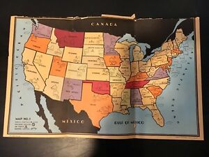 1938 United States Of America Maps Beckley Cardy Co Chicago Set No 720 4 Maps