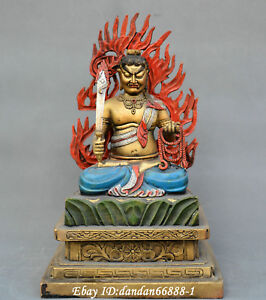 13 China Old Bronze Coloured Drawing Immovable Ming King Bodhisattva Statue