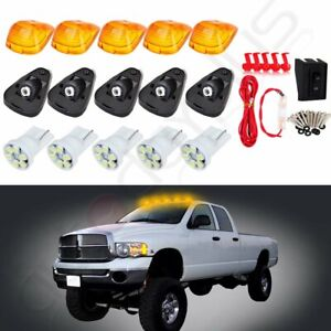 5x Amber Cab Marker Roof Running Light W White Led wiring For Ford F 250 F 350