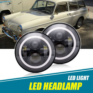Vw Type Bus Ghia Headlights For 7 Led Sealed Hi low Beam Angel Eye Halo Pair