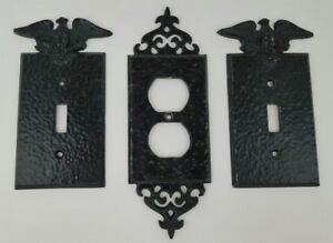 3 Vintage Black Hammered Metal Outlet Switch Covers Eagle Ornate Gothic Trim