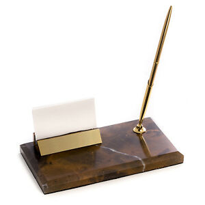 Desk Accessories Marble Pen Stand Business Card Holder